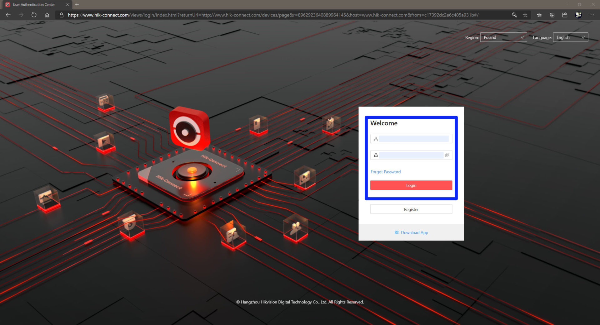 hik-connect - strona www - logowanie