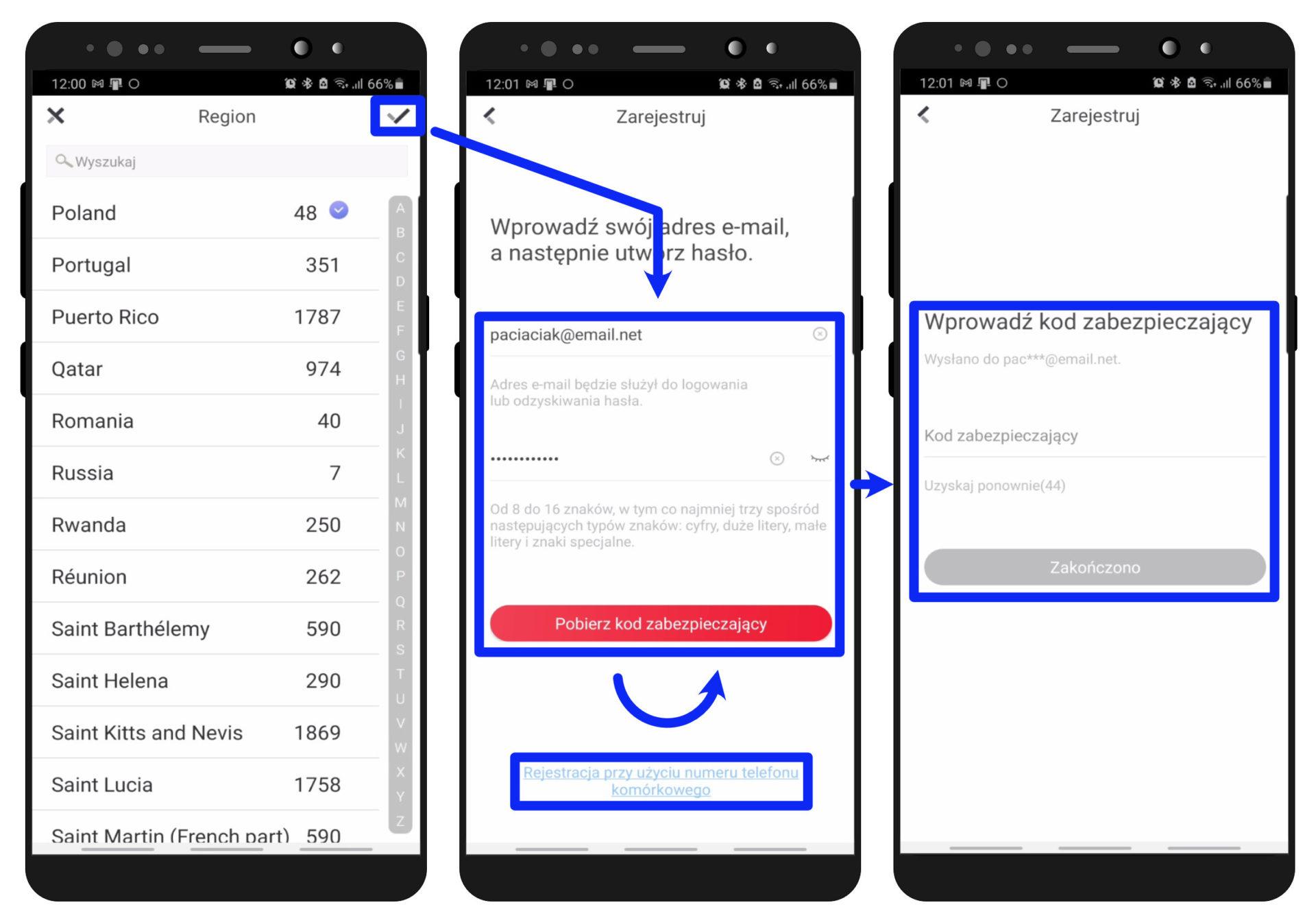 hik-connect mobile - formularz i kod zabezpieczający