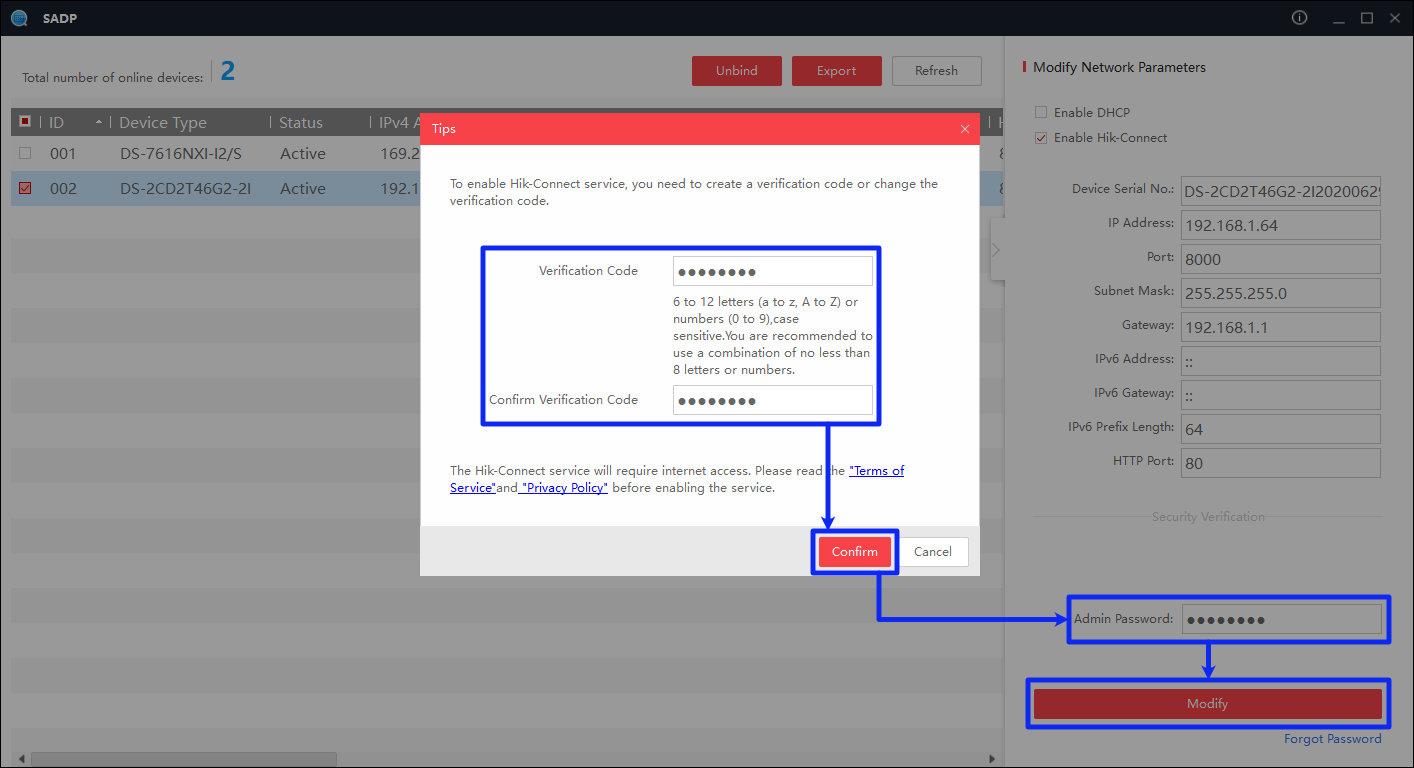 hik-connect - sadp tool - kod weryfikacyjny jeszcze raz