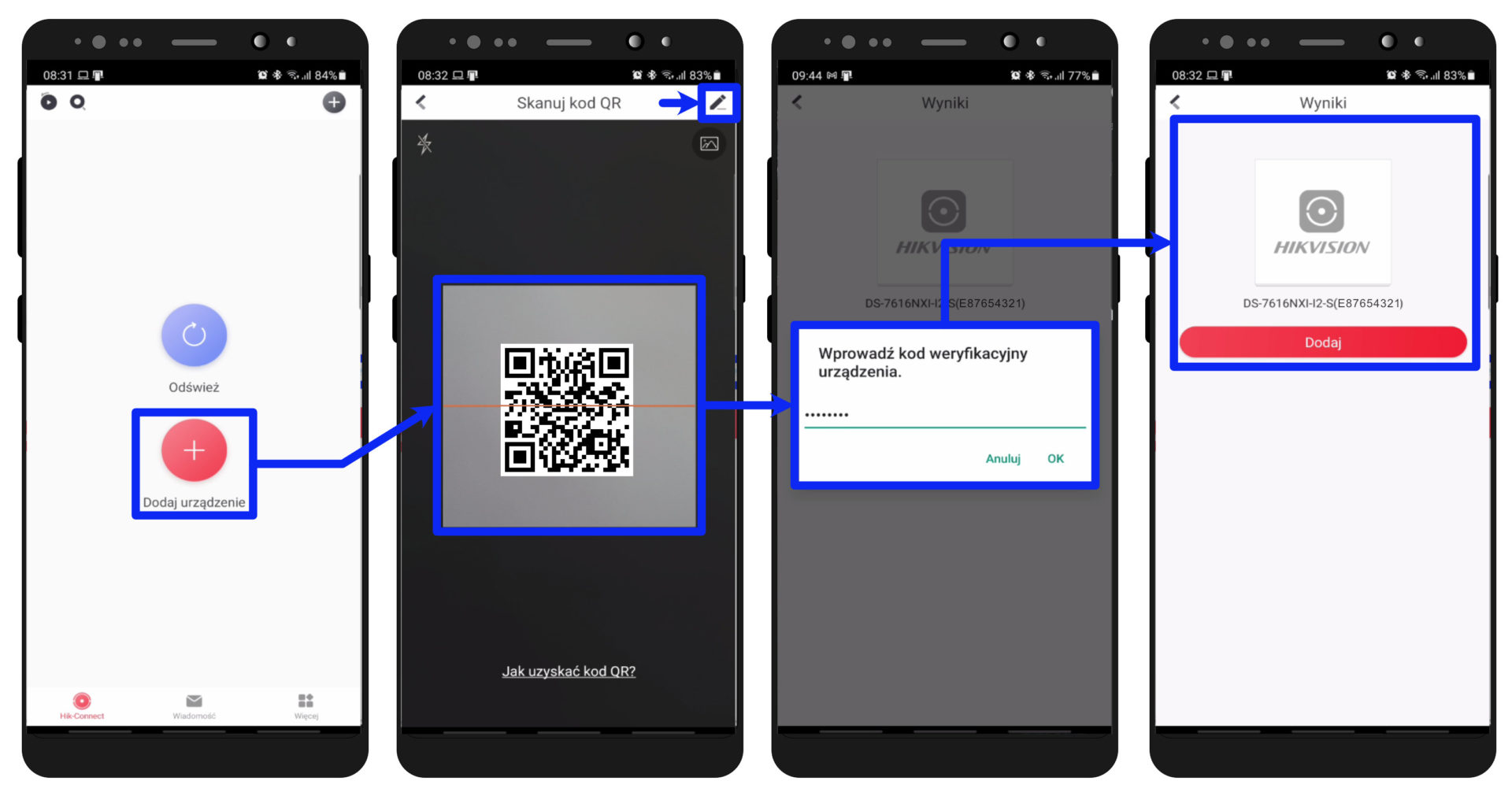 hik-connect app - dodawanie urządzenia do konta