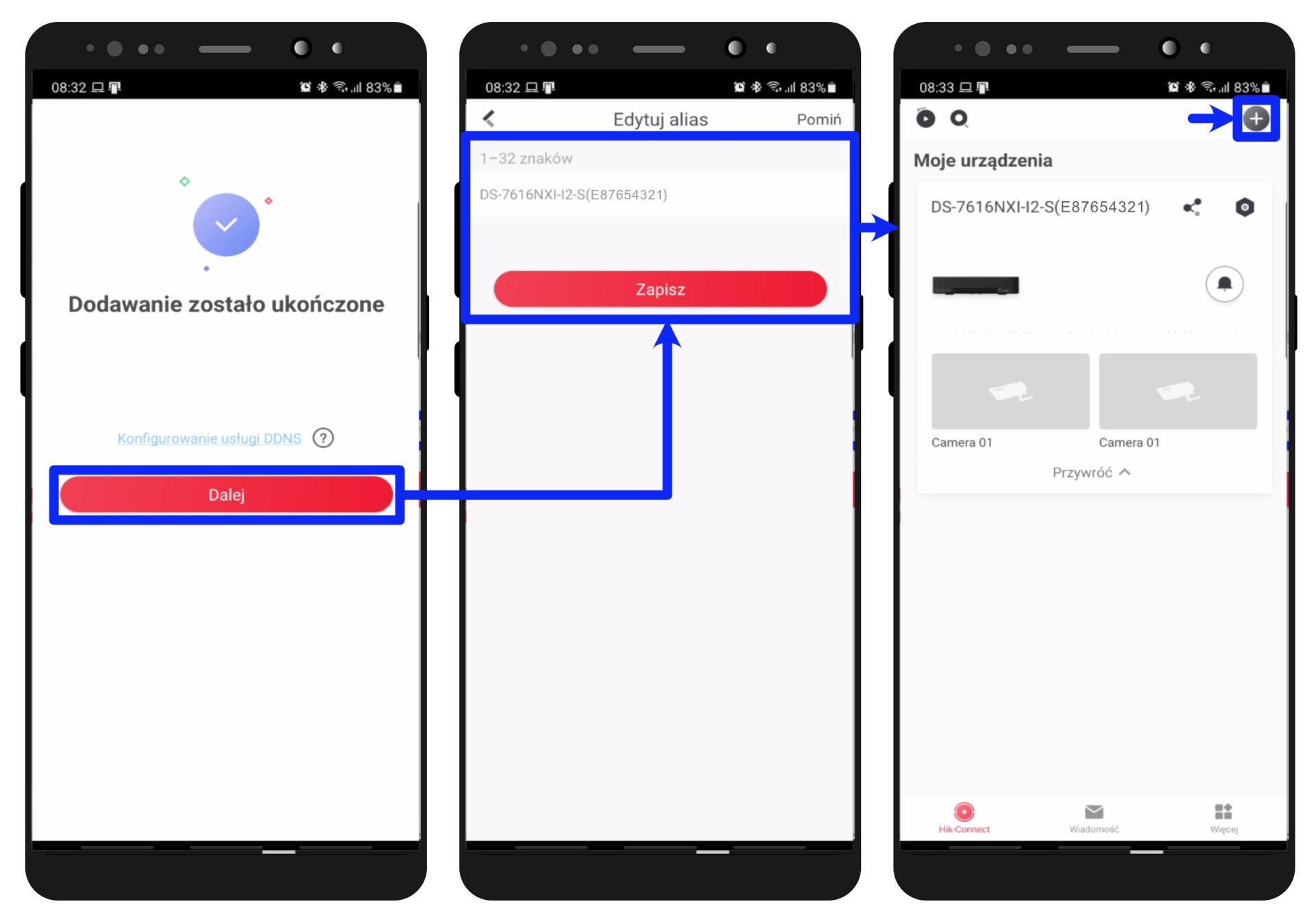 hik-connect app - dodawanie urządzenia - zatwierdzanie zmian