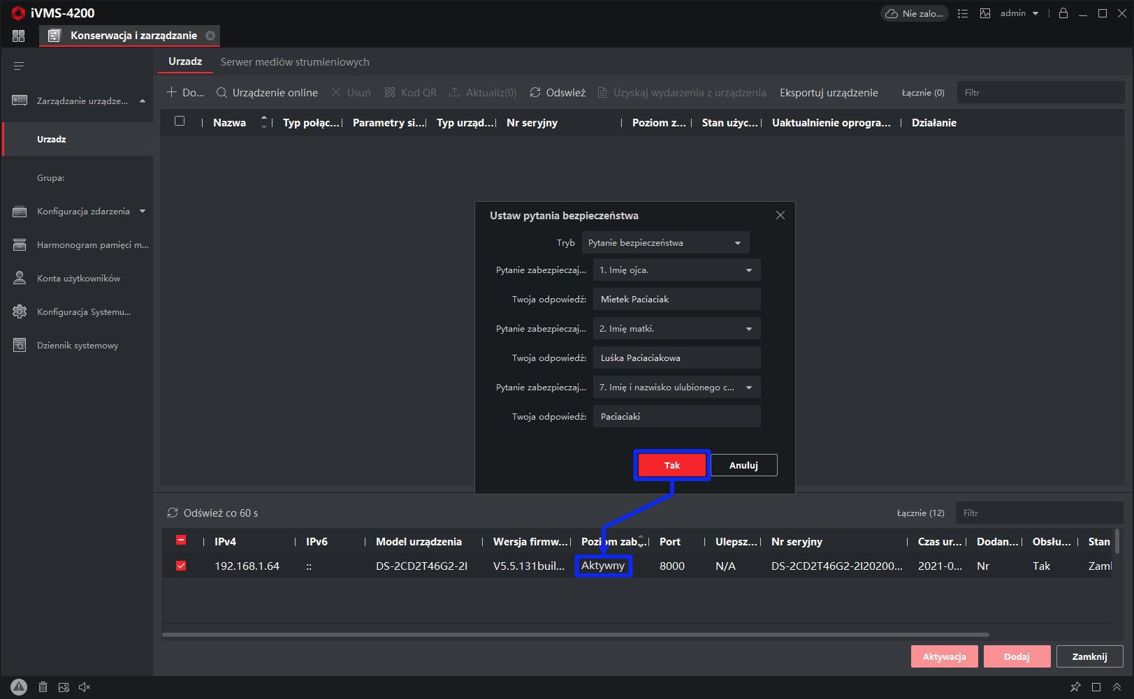 hik-connect - ivms-4200 - zarządzanie urządzeniem - sposoby odzyskiwania hasła